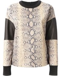 Emanuel Ungaro | Leather Panel Snakeskin Print Sweatshirt | Lyst
