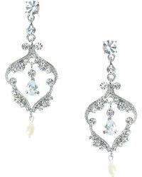 Nina - Crystal And Pearl Stone Chandelier Earrings - Lyst