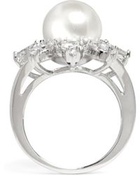 CZ by Kenneth Jay Lane - Floral Faux Pearl Cubic Zirconia Ring - Lyst