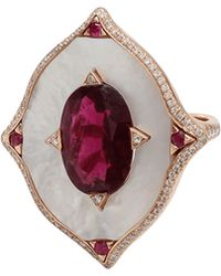 Inbar Rubelite And Mother Of Pearl Sheild Ring red - Lyst