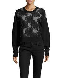 Jason Wu Cropped Lace Combo Sweatshirt - Lyst