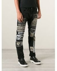 Diesel Black Patch Jeans - Lyst