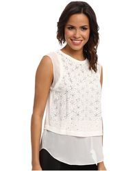 Rebecca Taylor Sleeveless Geo Shimmer Top - Lyst