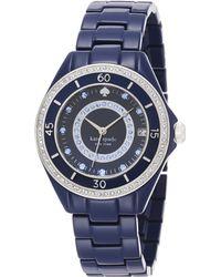 Kate Spade Seaport Grand PavÉ Stainless Steel & Enamel Bracelet Watch blue - Lyst