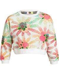 MSGM Floral Printed Cropped Cotton Sweatshirt - Lyst
