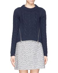 See By Chloé Virgin Wool Cable Knit Zip Front Sweater - Lyst