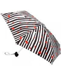 Lulu Guinness Tiny Cutout Lips Stripe Umbrella black - Lyst