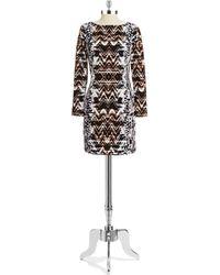 Vince Camuto Patterned Sheath Dress - Lyst