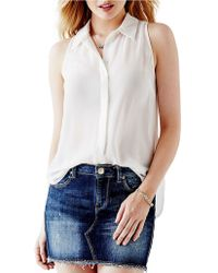 Guess Chiffon High-Low Blouse white - Lyst