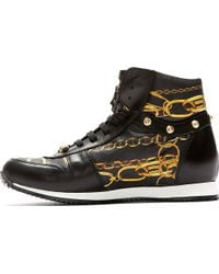 Versus  Black Leather Chain Print High_top Sneakers - Lyst