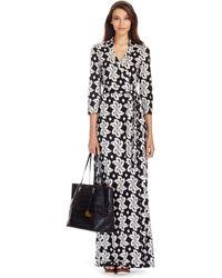 Diane von Furstenberg Abigail Silk Jersey Maxi Wrap Dress floral - Lyst