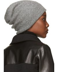Helmut Lang - Heather Grey Ribbed Knit Lux Hat - Lyst