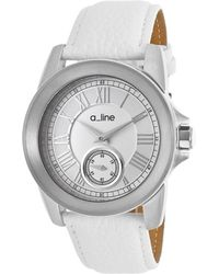 A_line - Amare White Genuine Leather Silver-tone Dial Ss - Lyst