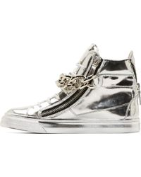 Giuseppe Zanotti Silver Mirrored Leather London High_Top Sneakers - Lyst