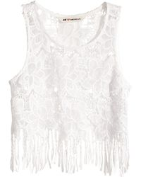 H&M Short Lace Top - Lyst