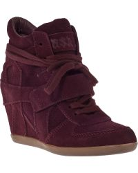 Ash Bowie Wedge Sneaker Bordo Suede - Lyst