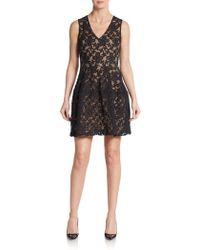 Maje Floral Lace-Front Dress - Lyst