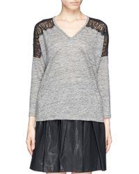 Sandro Tilda Lace Shoulder Linen T-shirt - Lyst