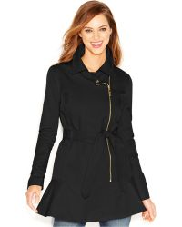 Kensie Asymmetrical-Zip Peplum Trench Coat - Lyst