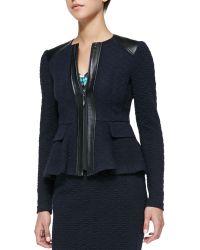 Nanette Lepore Keyhole Leathertrim Textured Jacket - Lyst