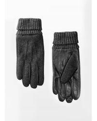 Mango   Wool Leather Gloves   Lyst