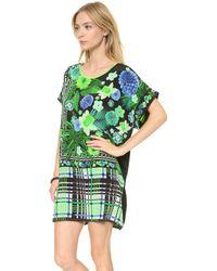 Emma Cook Kaftan Dress Floral Check Green - Lyst