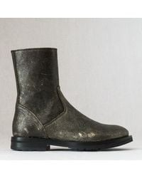Ann Demeulemeester Bronze Textured Leather Ankle Boot - Lyst