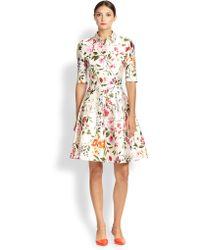 Oscar de la Renta Floral-Print A-Line Dress - Lyst
