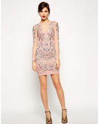 Asos Red Carpet Premium Crystal Cluster Body-Conscious Dress - Lyst