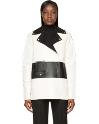 Costume National White and Black Colorblock Leather Biker Jacket - Lyst