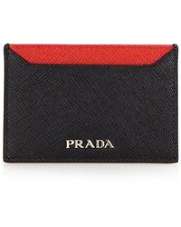 Prada | Saffiano Bicolor Card Case | Lyst