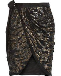 Isabel Marant Felmira Embellished Silkgeorgette Mini Wrap Skirt - Lyst