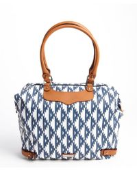 Rebecca Minkoff Navy and White Nylon Studded Leather Travel Tote - Lyst