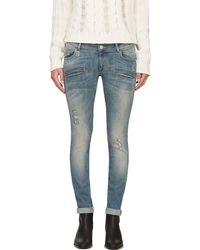 Pierre Balmain Blue Faded and Distressed Slim Jeans - Lyst