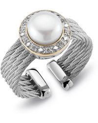 Charriol Diamondset Pearl Cable Ring Size 65 silver - Lyst