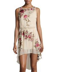 Haute Hippie Floral-Embroidered High-Low Silk Dress - Lyst