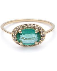 Anna Sheffield Pavé Amulet Ring - Emerald green - Lyst