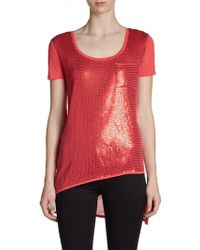 DKNY Sequin Shortsleeve Top - Lyst