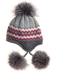 Inverni Striped Knit Beanie With Fur Pompoms - Lyst
