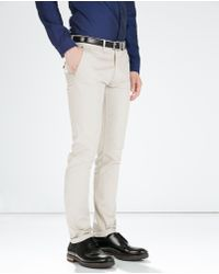 Zara Slim Fit Cotton Trousers - Lyst