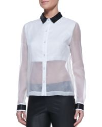 Robert Rodriguez Leathercollar Sheersolid Organza Blouse - Lyst