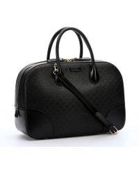 Gucci Black Diamante Leather Convertible Top Handle Bag - Lyst