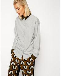 Asos White Wool Mix Contrast Shirt - Lyst