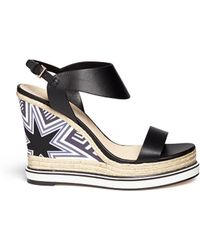 Nicholas Kirkwood Star Heel Espadrille Wedge Sandals black - Lyst