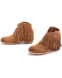 Jeffrey Campbell Chaffee Suede Fringe Booties - Tan - Lyst