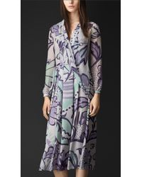 Burberry Floral Print Layered Silk Smock Dress - Lyst