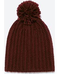 Zara Purple Knitted Hat - Lyst