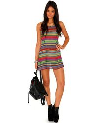 Missguided Amberin Aztec Print Strappy Swing Dress - Lyst