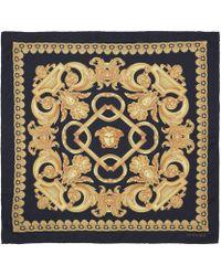 Versace Black Classic Baroque Print Silk Scarf - Lyst