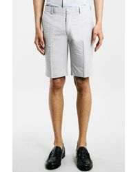 Topman Grey Oxford Trouser Shorts gray - Lyst